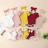 Summer Baby Ribbed Clothing Set Short Sleeved Romper Top Bow Shorts With Headbands 3Pcs Set Newborn Infant Toddler Article Pit Outfits M3482