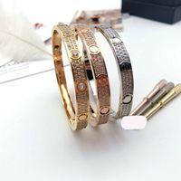 패션 티타늄 스틸 3 행 전체 다이아몬드 팔찌 팔찌 여성 남성 사랑 팔찌 거리 보석 선물 16-19 벨벳 가방