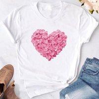 Women's T-Shirt GAOKE Pink Heart Flower Print Women T Shirt Polyester Casual Funny Gift 90s Lady Yong Girl Drop Ship