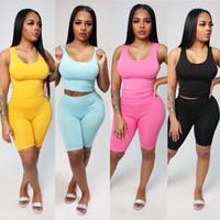 Размер одежды S-XXL Pieces Набор летних женщин трексуиты спортивные костюмы повседневные жилет 2 шт плюс женский спортивный буксир