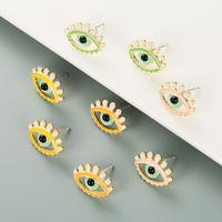 S2203 Fashion Jewelry Evil Eye Stud Earrings Colorful Glaze Blue Eyes Earring