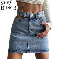Swebling Mode Jupes à taille haute Poches pour femmes Découpez Jupe Denim Femme 2021 Jeans occasionnels tout appariés survie