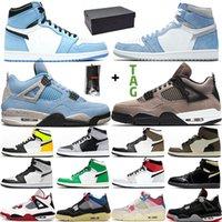 Nike Air Jordan 1 4 Chaussures De Basket-ball Hommes OG Elevé Pour 2019 Cactus Jack Houston Oilers Blanc Ciment Mens Designer Trainer Sport Sneakers Taille 41-47