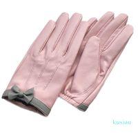 Guantes de piel de oveja de diseño corto de mujer Guantes de cuero genuino de diseño de arco diseño rosa guante de motocicleta