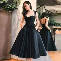 Black Short Cocktail Dresses 2021 Spaghetti Cinghie Sweetheart Neck Formal Party Backless Prom Gowns Satin Robe Robe Cocktail Femme