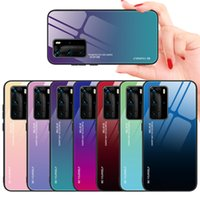 Colorful Gradient Phone Cases for Huawei P40 Pro P30 lite P20 Plus Nova4E Y7P Y7A P smart 2021 Tempered Glass Case Protective Cover