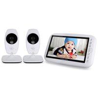 2.4 GHz Kablosuz Video Bebek Monitörü Gece Görüş 2 Yollu Konuşma Ninni 7.0 '' TFT LCD Ekran ve 2 Kameralar Monitors ile Uyuyan Ninni