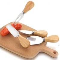 أدوات الجبن سكين مجموعة البلوط مقبض شوكة مجرفة عدة مخالفات الخبز البيتزا القطاعة القاطع BWB6132