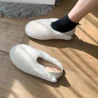 Slippers Shoes Women Flock House Platform Luxury Slides Fur Flip Flops Pantofle Lady Low Soft Designer Plush Flat 2021 Girl Rub