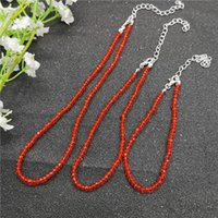 Earrings & Necklace JCYMONG 20 Color 3mm Glass Crystal Beads Bracelet Anklets For Women Beach Weddings Party Fashion Jewelry Set 2021