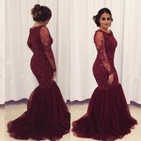 2021 Arabic Burgundy Evening Dresses Wear Jewel Neck Illusion Lace Appliques Crystal Beaded Mermaid Long Sleeves Plus Size Formal Party Dress Prom Gowns