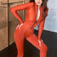Sampic 2021 Activewear 스키니 바지 여성 Bodycon Jumpsuit 긴 소매 스포티 한 Rompers 팬티 거들 여성용 점프 수이