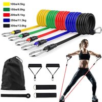 11pcs / 세트 라텍스 저항 밴드 CrossFit 교육 운동 요가 튜브 풀 로프 고무 확장기 탄성 밴드 피트니스 장비
