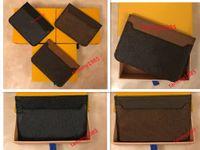 Лучшее качество мужчины женщины мода классический коричневый цветок клетчатый черный плед повседневная кредитная карта ID держатель кожи ультра тонкий кошелек пакетная сумка