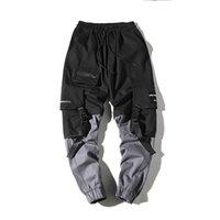 Pantalon de cargaison en coton 2021 Pantalons d'homme Nouveaux Mode Streetwear Couture Couleur Joggers Hip Hop Pantalons longs Hommes Canton de cargaison à la taille élastique
