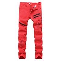 3 Cores Calças de Jeans Sólidas Cores Sólidas Jeans Motocicleta Não Esticamento Fit Magro Longo Denim Calças Hip Hop Calças Lápis Calças para Masculino