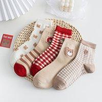 4 Pairs Lot Korean Style Women Socks Kawaii Bear Casual Soft Funny Harajuku Boat Socks TJ3032