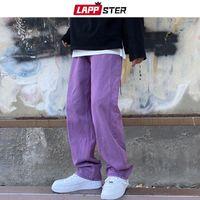 Homens jeans lappster homens roxo vintage folgue 2021 mens ascensão denim y2k calças macho perna larga rua streetwear plus tamanho