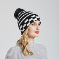 Autumn and Winter Woolen Hat Wholesale Striped Wool Ball Knitted Hats Pompom Beanies cap