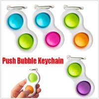 Novo Empurre Bubble Keychain Kids Baby Baby Novel Fidget Imprimir Chaveiros Simples Dimple Toy Pop Brinquedos Chave Titular Anéis Saco Pingentes Stress Decompression Toy Presentes