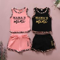 kids Clothing Sets girls outfits Children Letter printing sleeveless Tops+Leopard shorts 2pcs set summer Boutique fashion baby clothes