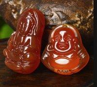 Águila roja natural Calcedonia Guanyin Buda Jade Colgante Pequeña Guanyin Buddha Un par de Venta al por mayor V9754