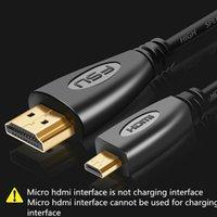 Mikro HDMI uyumlu HDMI Kablosu 1 M 1.5 M 3 M 5 M 3D 1080 P 1.4 Altın Kaplama Erkek-Erkek Mikro HDMI uyumlu Kablo Tablet HDTV için