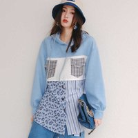 S8978 European autumn new street fashion cool color contrast fake two-piece Hoodie Pullover