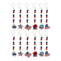 10pcs USA Flag Star Wood Bead Garland 4th of July Party Decoration, Heart House Tag Hanging Wooden Beads Tassel for Patriotic Independence Day Favor