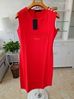 여성 캐주얼 드레스 클래식 편지 패턴 인쇄 골드 버튼 여성의 활성 스타일 여름 민소매 드레스 고품질