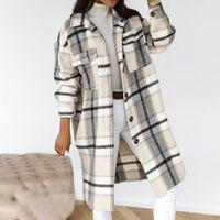 Women's Wool & Blends Nice Spring Checked Women Jacket Turn Down Overcoat Warm Plaid Long Coat Oversize Thick Woolen Female Streetwear