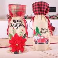 Boże Narodzenie Plaid Butelka Pokrywa Kwiatowy Samochód Wydrukowany Wina Torba Xmas Szampana Butelki Pokrowce Christmas Decoration Dwb9151