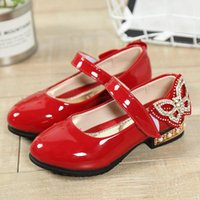 Flat Shoes Pearl Butterfly Leather Baby Girls Square Mouth Princess Shiny Party Comfort Non-Slip Low-Heel Flats Sweet Footwear