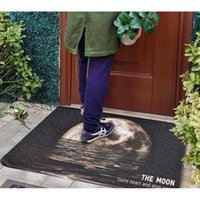 Cushion Decorative Pillow PVC Silk Loop Dust-proof Printed Doormat Rugs Black Gray Outer Space Moon Outdoor Rug Mats Shoes Scraper For Bathr