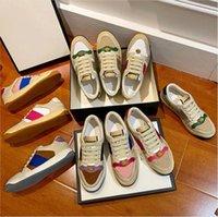 Screener Sneaker Beige Butter Schmutzige Lederschuhe Italien Vintage rotes und grüner Webstreifen Luxurys Designer Sneakers Bi-Color Gummi-Sohle Klassische Freizeitschuh