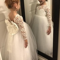 Girl's Dresses White Lace Tulle Flower Girl Long Sleeve O-neck Sheer For Wedding Gowns Kids V Backless Birthday Party Clothes