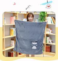 Portable Rollable Blanket Office Travel Nap Fitness Velvet rug Small Blankets Coral fleece Plush Baby Blanket Soft Cheap Cartoon
