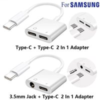 2 In 1 Dual Type C Jack earphone Adapter Cable For Samsung S20 S10 Huawei USB Type-C to 3.5mm AUX Audio Headphones Splitter Charging Converter