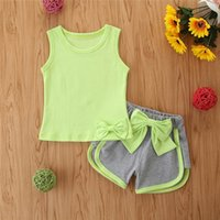 Baby Clothing Sets Girls Outfits Clothes Kids Suit Wear Summer Cotton Bowknot Tops Vest Shorts Sportswear Tracksuit 2Pcs B5405