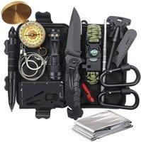 Regalo para hombres Equipos de salvamento de vida 14 en 1 Pesca y Herramientas de caza Kit de salvamento Camping al aire libre Cuchillo de emergencia
