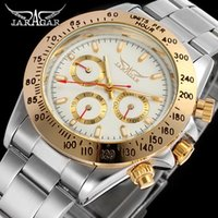 Jaragar 2021 Montre Homme Mens Relojes Moda automática Dorado Acero inoxidable Fecha Deportes Deportes Mecánico Reloj Reloj Relogio Relojes de pulsera