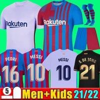 21 22 Camisa de futebol do FC Barcelona BARCA MESSI KUN AGUERO 2021 2022 ANSU FATI GRIEZMANN F.DE JONG DEST COUNTINHO camisa de futebol kit masculino + conjunto de meias infantil