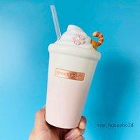 Starbucks Cherry blossom Ice cream ceramic straw mug 460ML Pink white gradient sakura Frappuccino modeling coffee cup