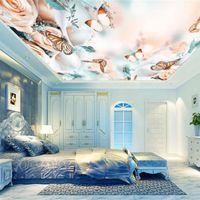 Fondos de pantalla Romántico 3D Murales de techo Flor de rosa mariposa para sala de estar Dormitorio Papeles de pared Decoración del hogar Estiramiento