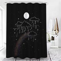 Shower Curtains Bohemia Curtain Moon And Back Waterproof Fabric Black Bath For Bathroom Decor Sets