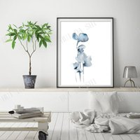 Paintings Minimalist Floral Fine Art Print, Blue Grey Abstract Flowers Watercolor Painting Modern Wall Giclee Print