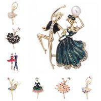 Pins, Brooches Exquisite Crystal Ballet Dancer Brooch Pretty Flower Skirt Pearl Women Girls Gift Pins Broach