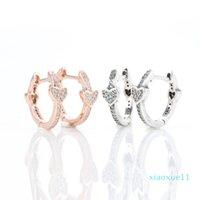 Authentic 925 Sterling Silver Heart Stud Earring Original Box for Pandora Alluring Hearts Hoop Earrings