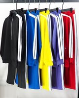 2021 Gelgit Marka Gökkuşağı Spor Erkek Eşofman Kontrast Çizgili Fermuar Ceket kadın Spor Suit Gevşek Casual Çift High Street
