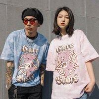 VEGORDRS Moda Tie Gravador Gradiente Cinco Estrela Urso Imprimir Manga Curta Amantes Loose T-shirt dos homens